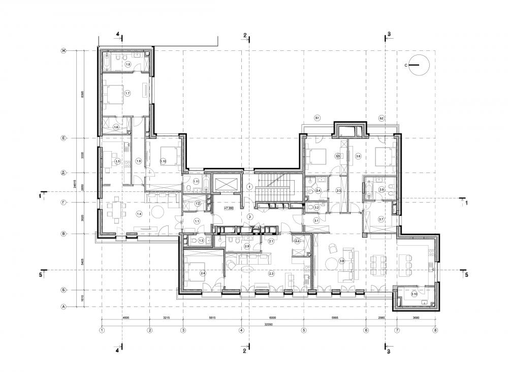 Edison House. Plan of floors 2-3<br>Copyright: © Aleksey Bavykin and Partners
