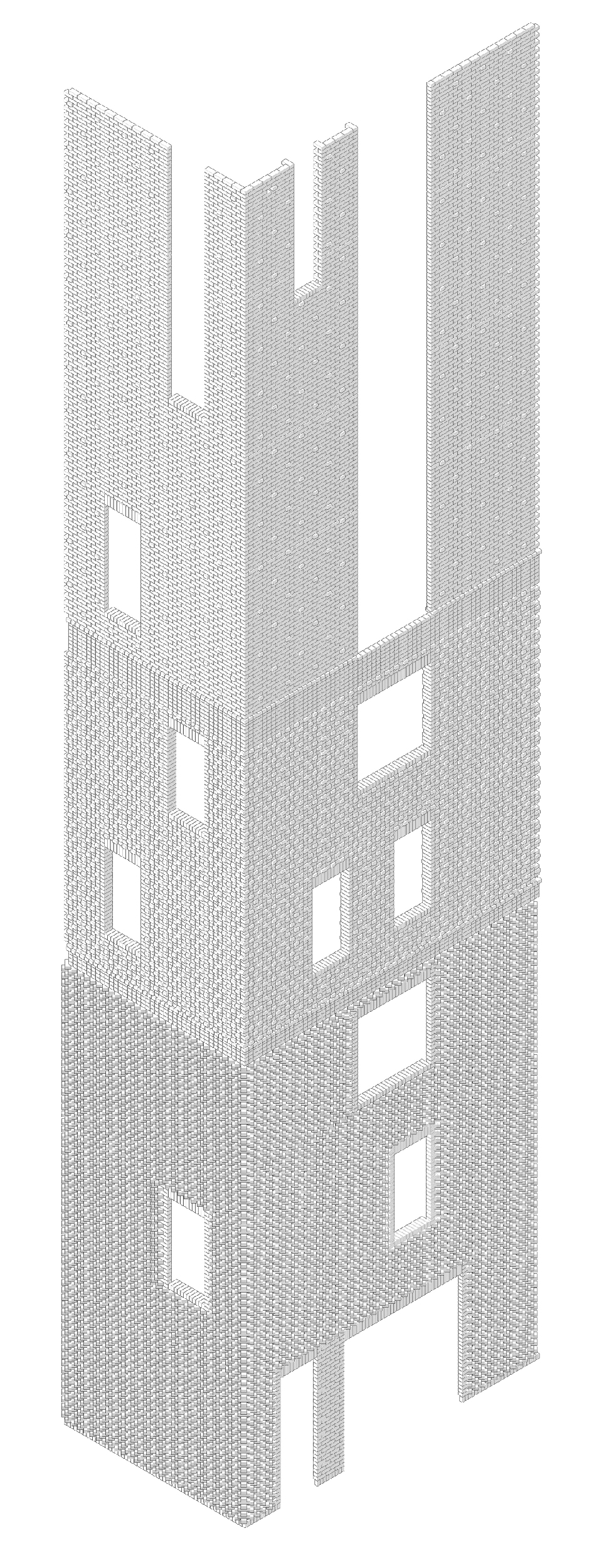 Edison House. Axonometric drawing of the brickwork<br>Copyright: © Aleksey Bavykin and Partners