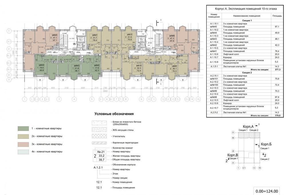 ZILART housing complex (Lot #4). Typical floor. Building A.<br>Copyright: © Mezonproekt