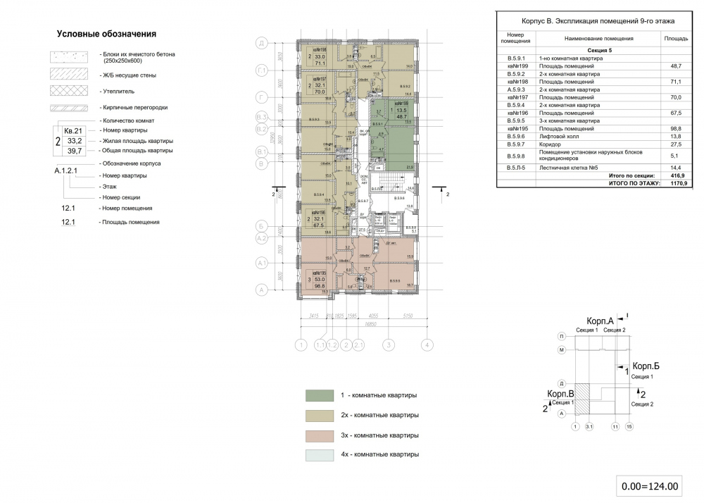ZILART housing complex (Lot #4). Typical floor. Building B.<br>Copyright: © Mezonproekt