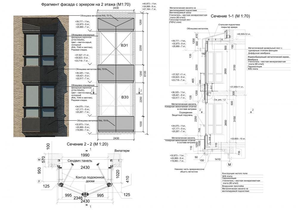 ZILART housing complex (Lot #4). Facade fragment<br>Copyright: © Mezonproekt