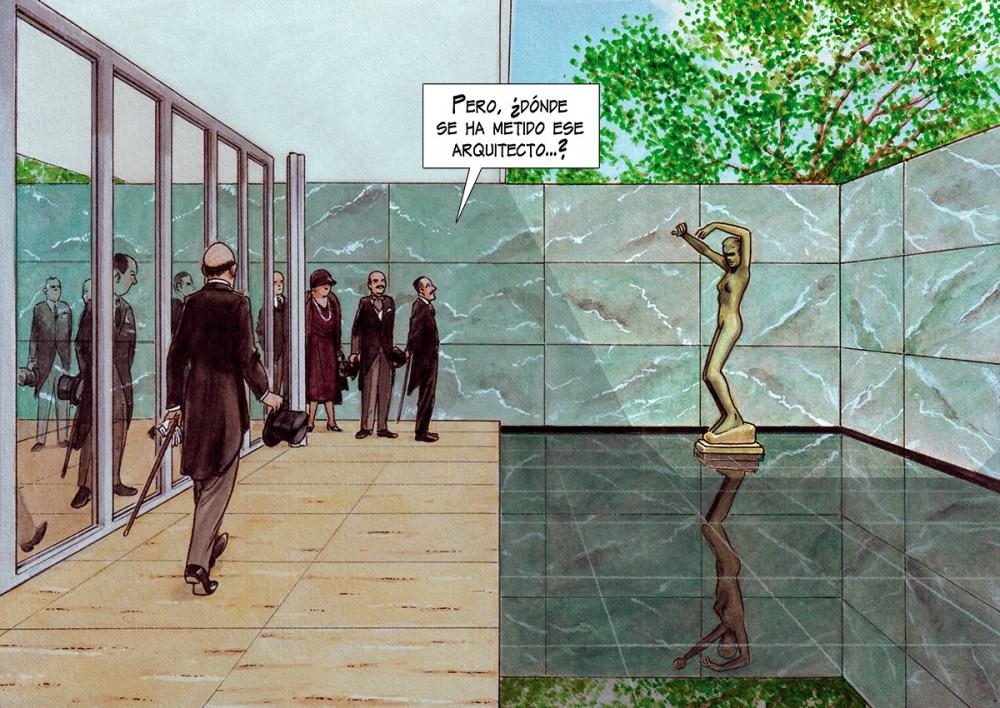 Фрагмент из графического романа Mies, автор Агустин Феррер Касас<br>Павильон Германии для Всемирной выставки в Барселоне. Изображение предоставлено издательством Grafito Editorial