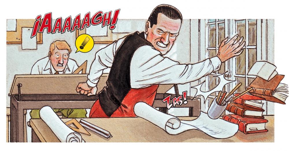 Фрагмент из графического романа Mies, автор Агустин Феррер Касас<br>Мис. Изображение предоставлено издательством Grafito Editorial
