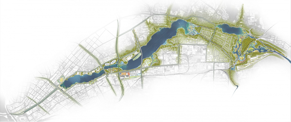 Concept for the development of the waterfronts of the Kaban lake system<br>Copyright: © Turenscape + MAParchitects