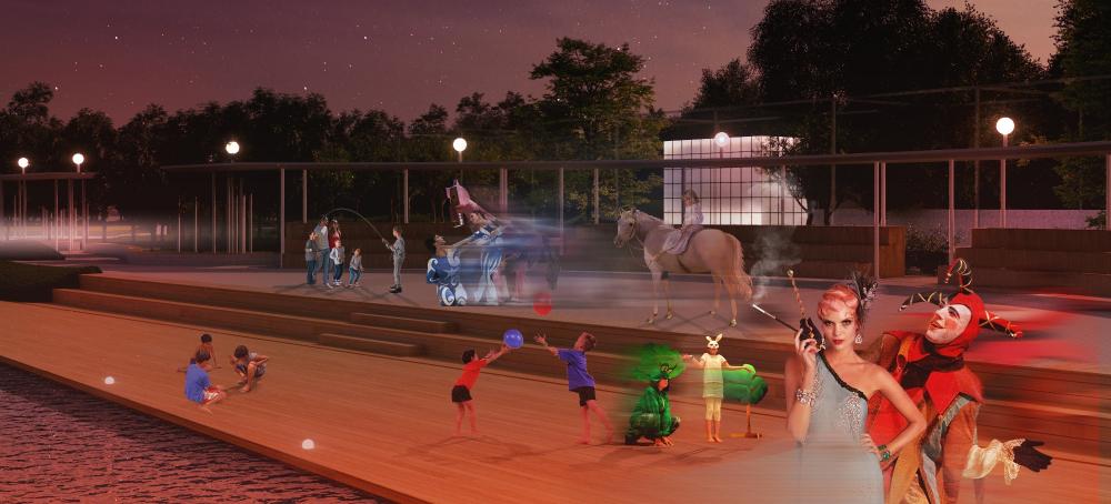 Ночной вид на променад<br>© «Новая земля»+ NEFA architects + ARTEZA