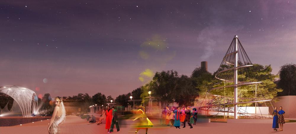 Ночной вид на променад с «Улиткой»<br>© «Новая земля»+ NEFA architects + ARTEZA