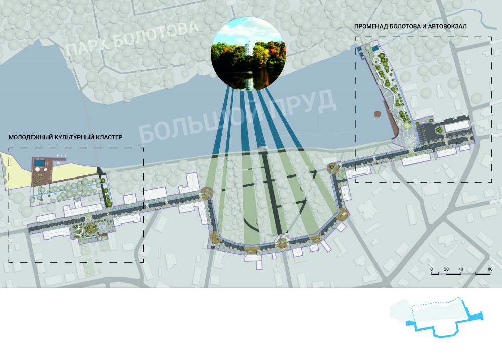 Связь объектов прогулочного маршрута и видов из усадьбы<br>© «Новая земля»+ NEFA architects + ARTEZA