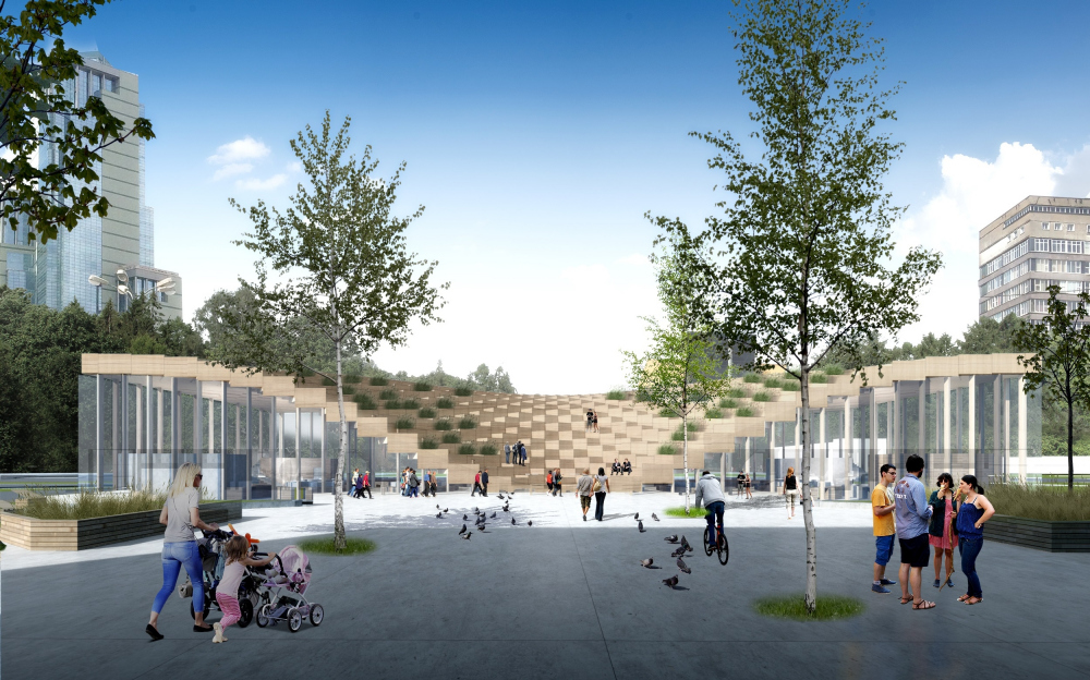 The concept of a farmers′ market on the Izmailovo Square, Moscow<br>Copyright: © MAParchitects