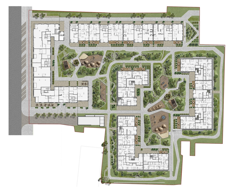 """Aleksandrovsky Sad"" housing complex. The master plan<br>Copyright: © T+T architects"
