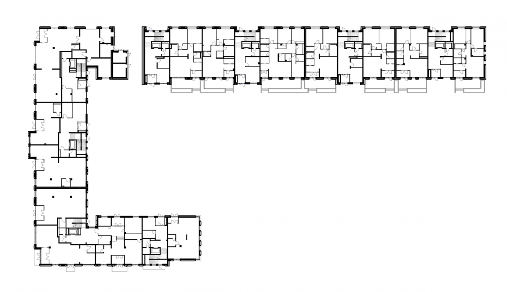"""Aleksandrovsky Sad"" housing complex. Unit 1, plan of the 1st floor<br>Copyright: © T+T architects"
