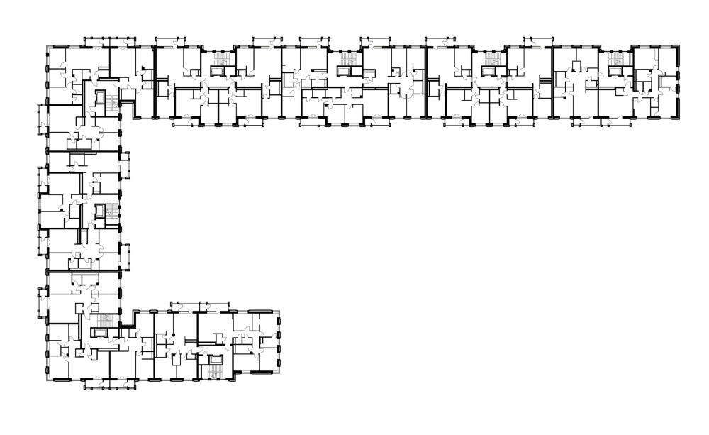 """Aleksandrovsky Sad"" housing complex. Unit 1, plan of the 3rd floor<br>Copyright: © Т+Т Architects"