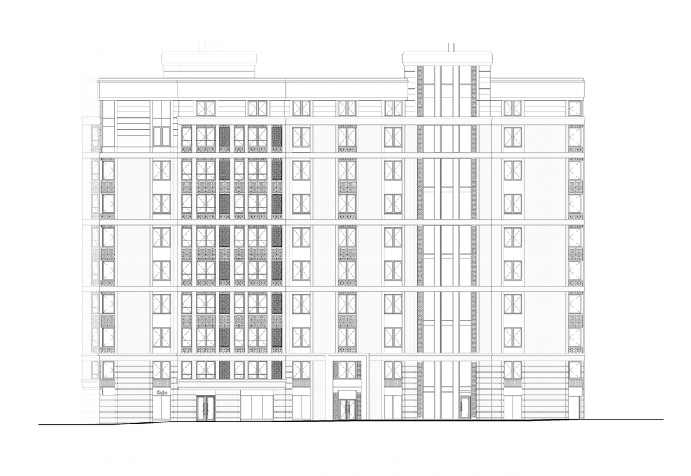 """Aleksandrovsky Sad"" housing complex. Unit 1, Facade 1-12<br>Copyright: © Т+Т Architects"