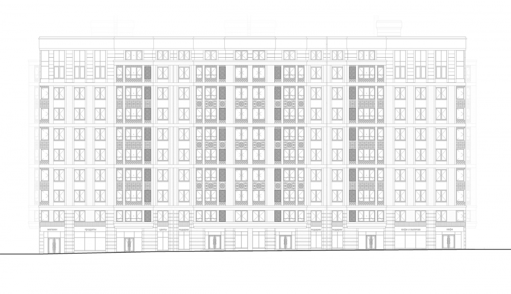 """Aleksandrovsky Sad"" housing complex. Unit 1, Facade A-T<br>Copyright: © Т+Т Architects"