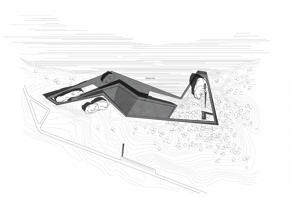 Vels Landscape Hotel. Section view A-A. Master Plan<br>Copyright: © Ad Hoc Architecture