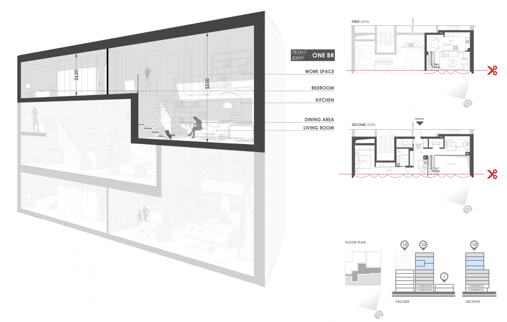 Snail Apartments housing complex. Section views<br>Copyright: © Archimatika
