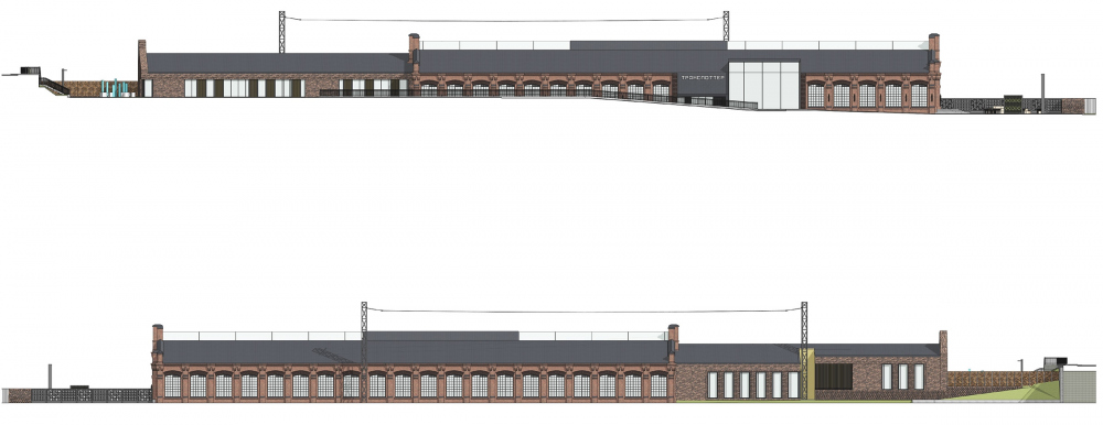 Concept for overhauling the former railroad car depot. Facades 1,2<br>Copyright: © Т+Т Architects
