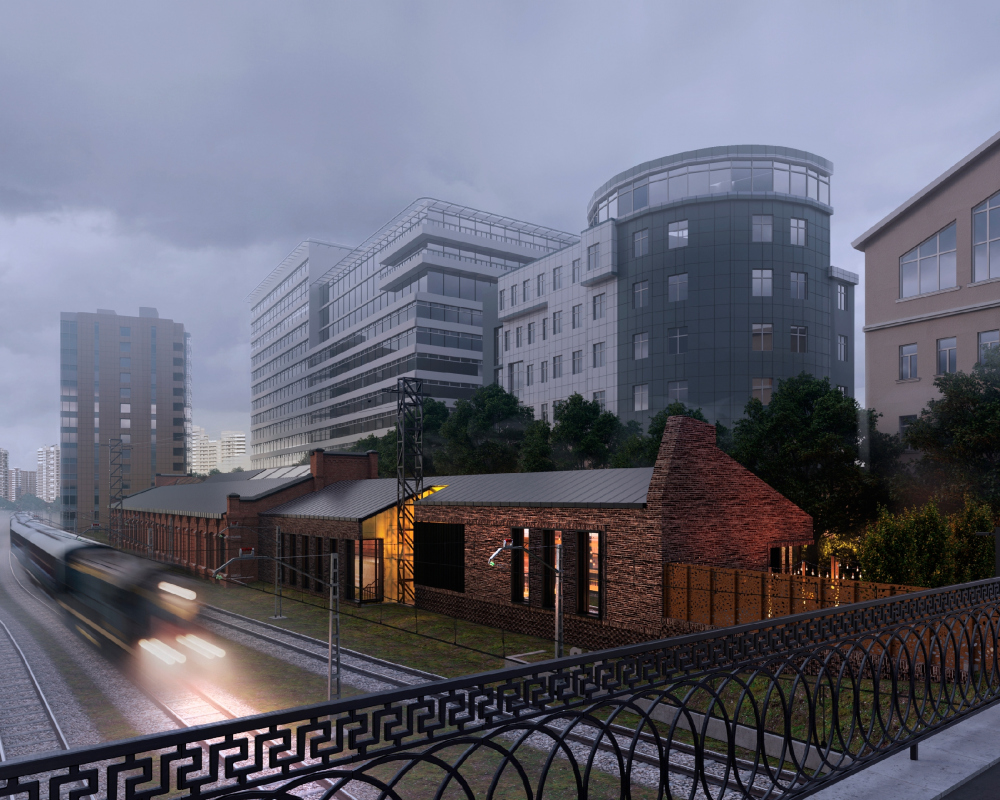 A concept for overhauling a former train depot. Perspective view from the Kazakova Street<br>Copyright: © T+T architects