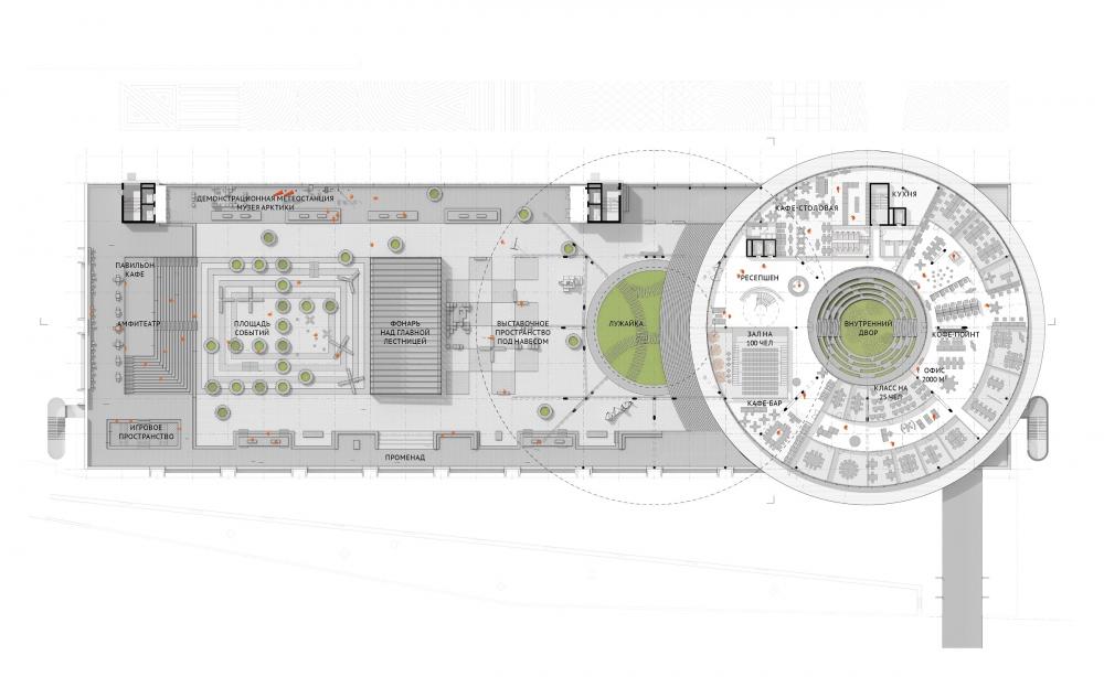 Концепция общественно-делового кампуса на крыше производственного корпуса Б на территории «Севкабель Порт». План 1 этажа<br>© Архитектурная группа DNK ag