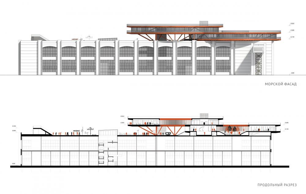 Концепция общественно-делового кампуса на крыше производственного корпуса Б на территории «Севкабель Порт». Разрез<br>© Архитектурная группа DNK ag