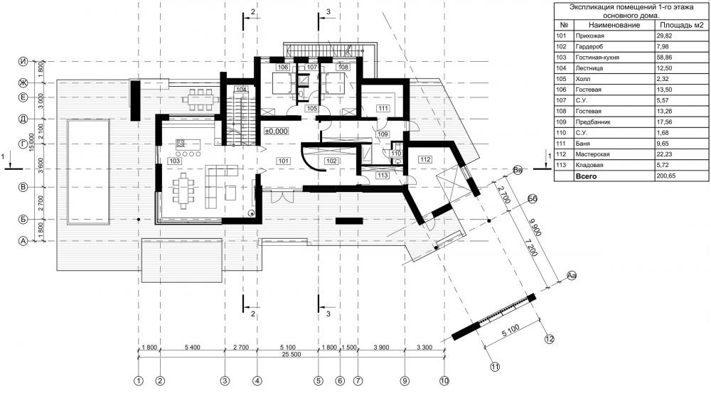Особняк Данилова. План 1 этажа<br>© Архитектурное бюро Романа Леонидова