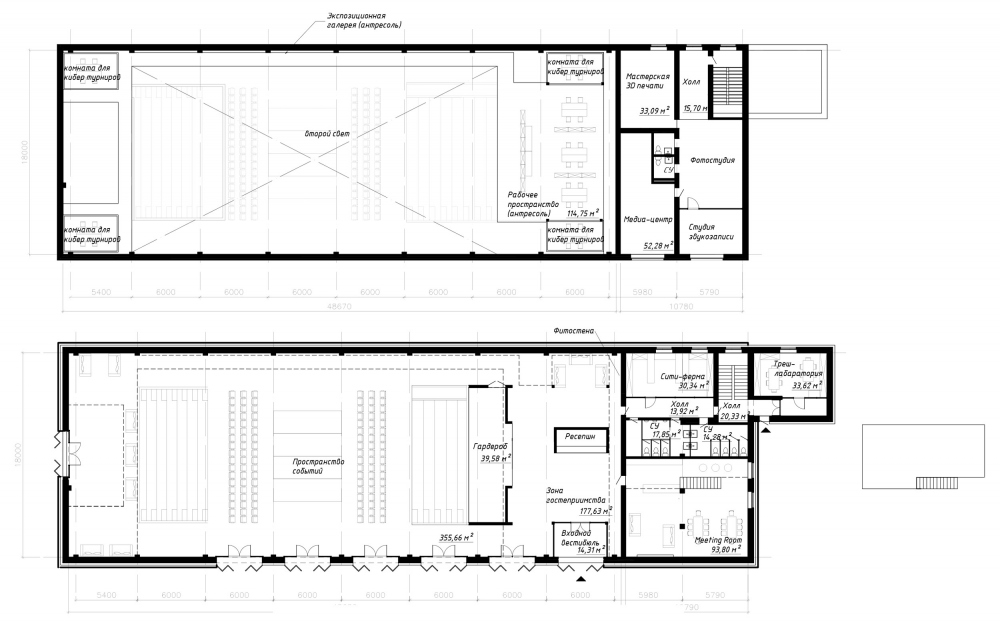 """Plans of the 1st and 2nd tiers with a loft. The architectural concept of ANGAR youth culture center, 2019<br>Copyright: © MAParchitects / """"Center"""" agency research"""