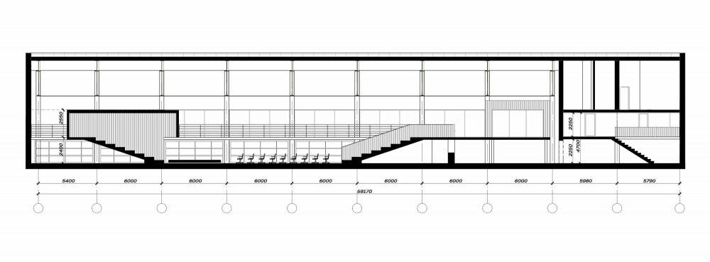 """The section view. The architectural concept of ANGAR youth culture center, 2019<br>Copyright: © MAParchitects / """"Center"""" agency research"""