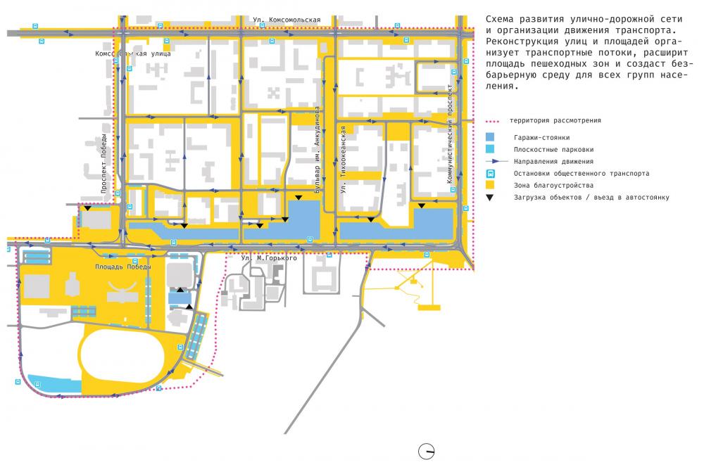 The concept of architectural and town planning development of the city of Yuzhno-Sakhalinsk. The traffic scheme<br>Copyright: Ostozhenka Bureau