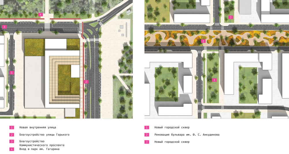 The concept of architectural and town planning development of the city of Yuzhno-Sakhalinsk. Fragments of the landscaping project: the Fame Square and the Ankudinov Avenue<br>Copyright: Ostozhenka Bureau