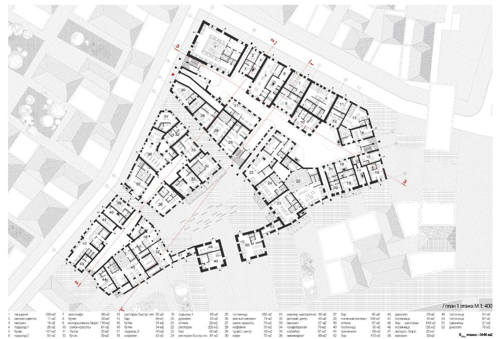Регенерация припортовых кварталов в исторической части Феодосии. План 1 этажа квартала<br>Екатерина Востокова