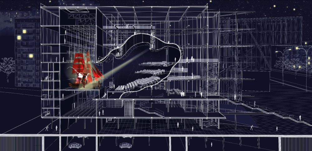 «Площадь Звезды» у метро Профсоюзная. Разрез по театральному комплексу<br>Анастасия Тряпичникова