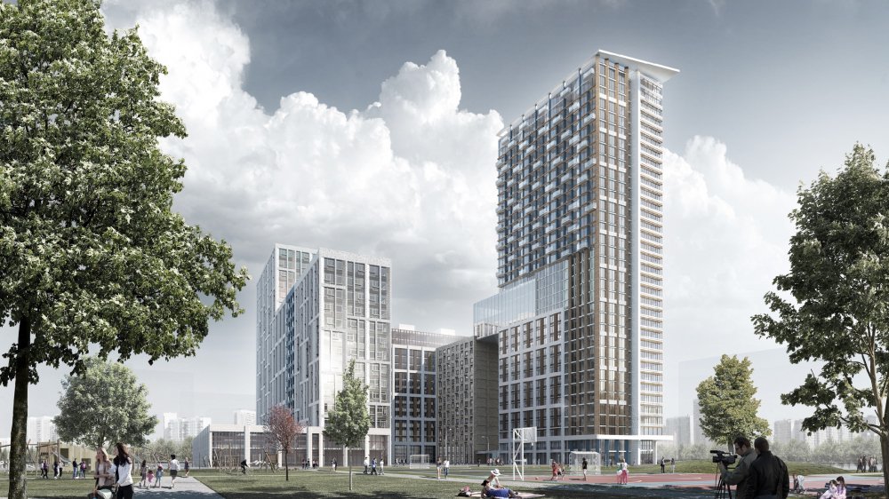 Architectural and town-planning concept of the mixed-use development in the western part of the Nagatinskaya Poima. Competition project, 2018<br>Copyright: A.Ginzburg – Chief Architect of the Project; A.Orlov – Chief Architect of the Project; M.Dudin – Chief Architect of the Project, A.Puchkov – Chief Architect of the Project; M.Aleksandrova – the leading architect; V.Galimov – Architect