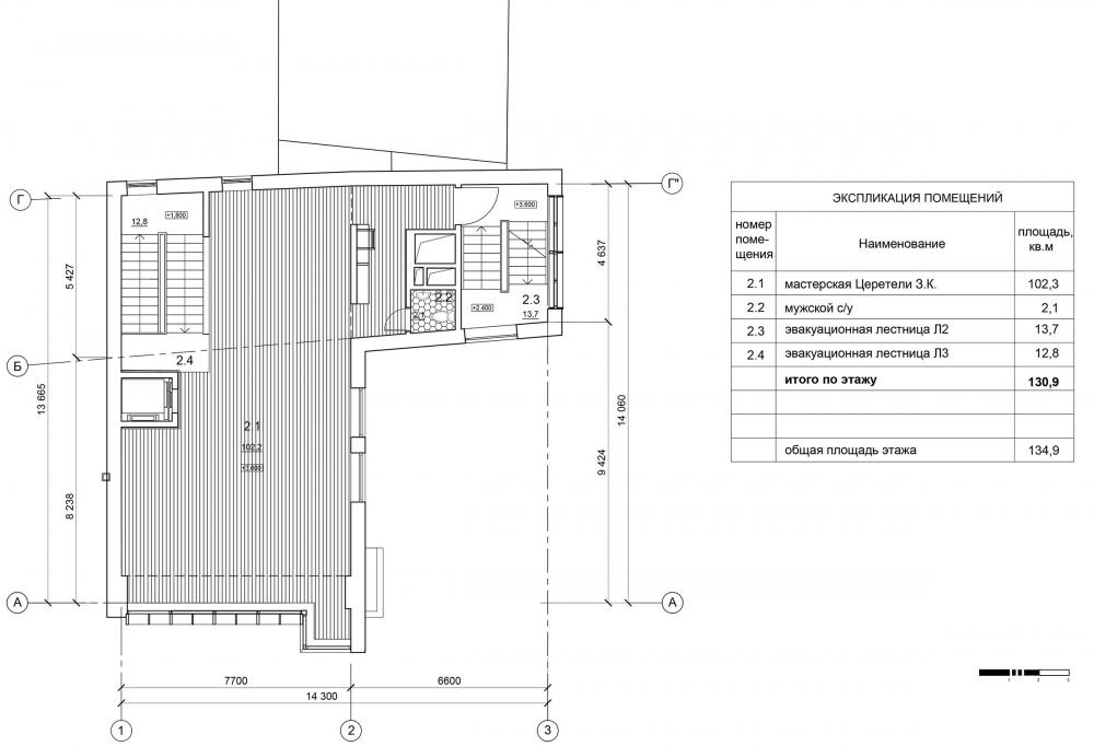 The studio of Zurab Tsereteli. Plan of the 2nd floor<br>Copyright: © Mezonproekt