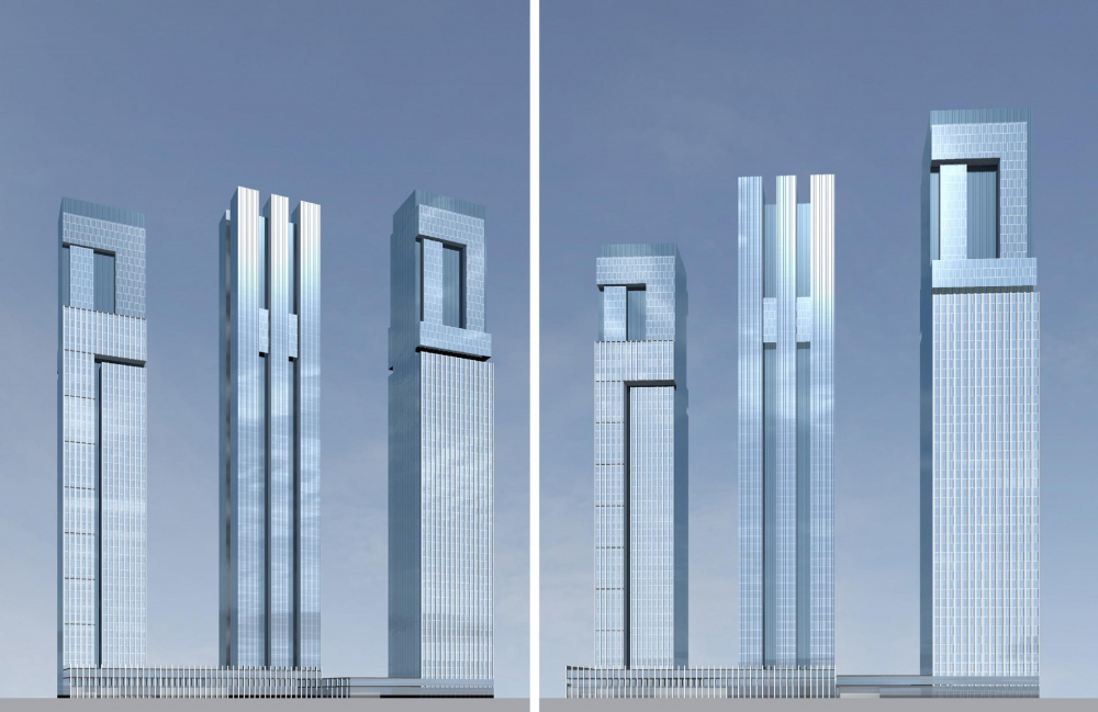 Version 1. The sketch project of RZD skyscrapers<br>Copyright: © GrandProektCity