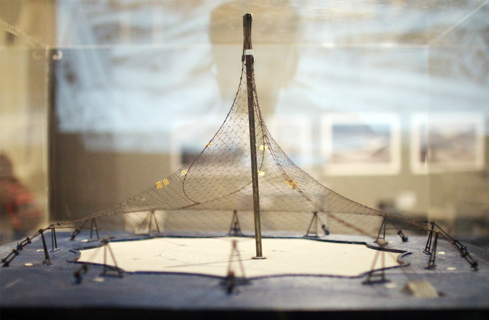 Model of the grid shell in the Institute of Lightweight Structures 1993/1995. The archive of the institute. Exhibition