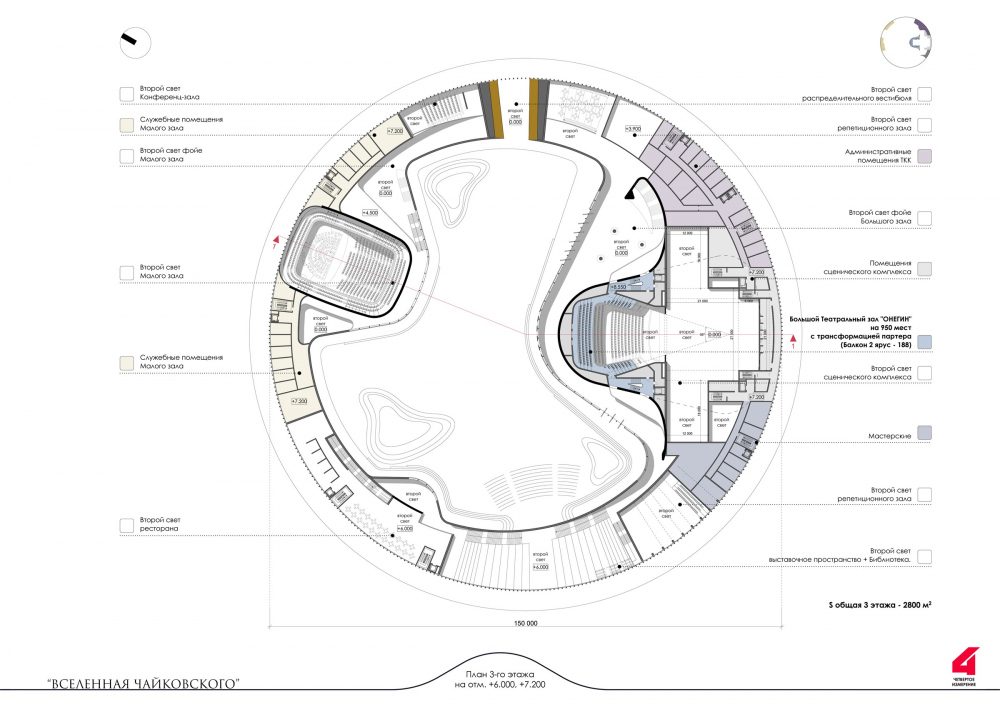 """The main theater and concert complex of the Moscow Region """"Tchaikovsky′s Universe"""". The plan on the level of the 3nd floor<br>Copyright: © 4izmerenie"""