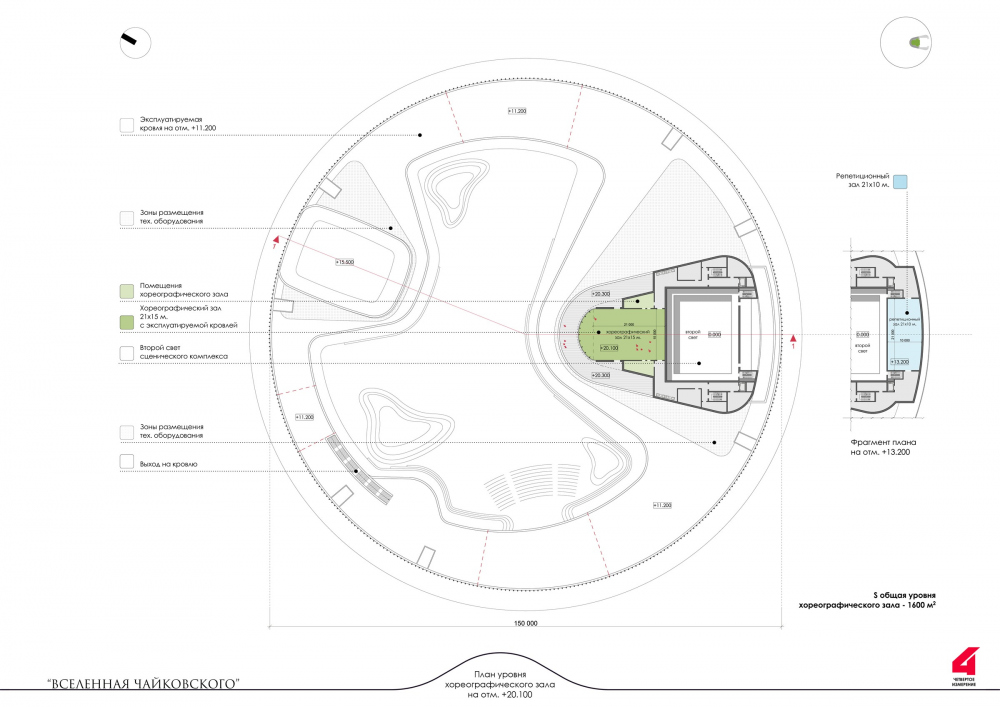"The main theater and concert complex of the Moscow Region ""Tchaikovsky′s Universe"". The plan of the roof and the choreographic floor<br>Copyright: © 4izmerenie"