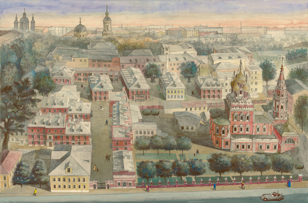 "Moscow. Kadashevskaya Township, XXI century. The residential complex ""Metsenat"" in Kadashi<br>Copyright: Watercolor painting by Maria Utkina"