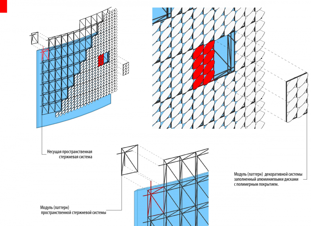 The facade solution formed on the volumetric shaft system with a rectangular module. International Center of Epics of Eurasian peoples in Yakutsk<br>Copyright: © Creative Union 'Reserve'