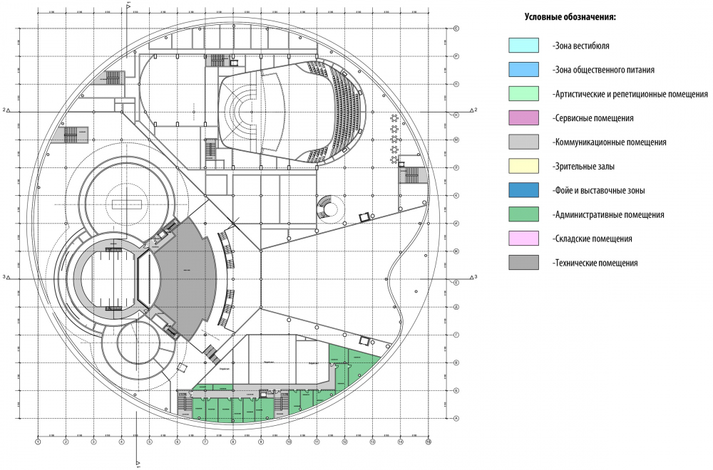 Plan of the 6th floor at the elevation +16.500. International Center of Epics of Eurasian peoples in Yakutsk<br>Copyright: © Creative Union 'Reserve'
