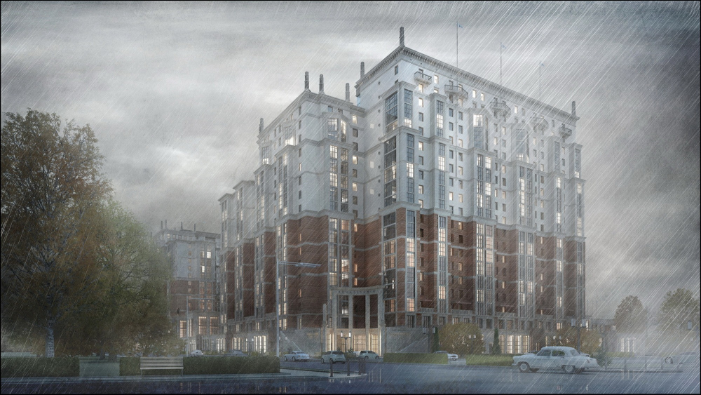 """The """"Renaissance"""" housing complex on the Dybenko Street in Saint Petersburg, since 2015. Computer simulation. Currently in construction. Client: AAG investment and construction group<br>Copyright: © Stepan Liphart"""