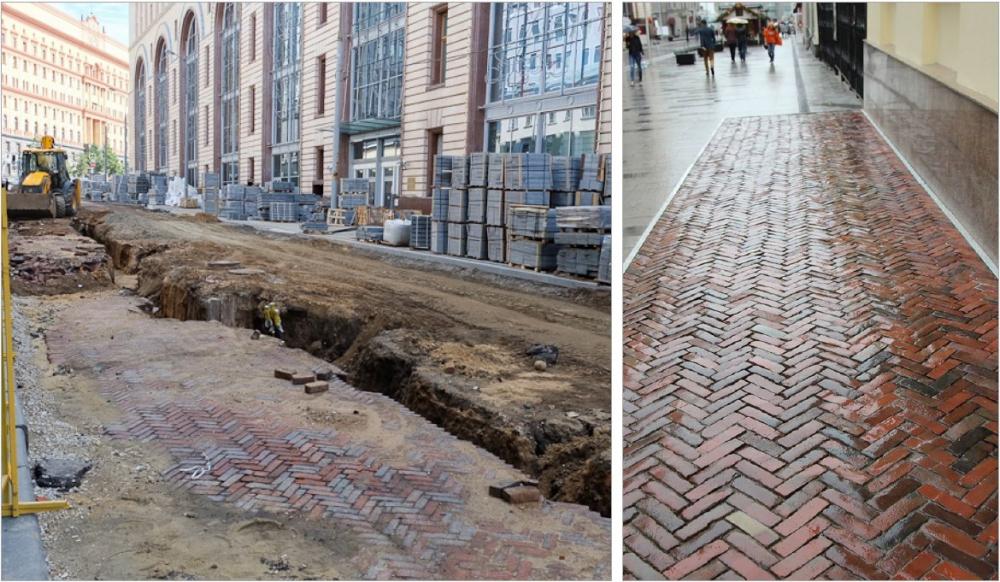 Примеры кирпичного мощения XIX века в Москве, найденные в процессе реновации<br>Предоставлено Megabudka