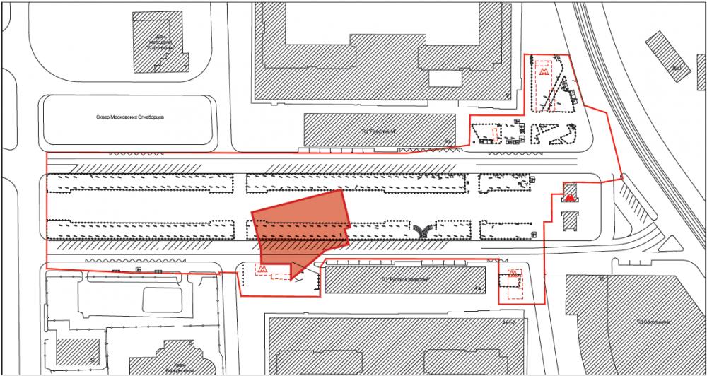 План с учетом подземных конструкций метро. Сокольническая площадь<br>© Megabudka