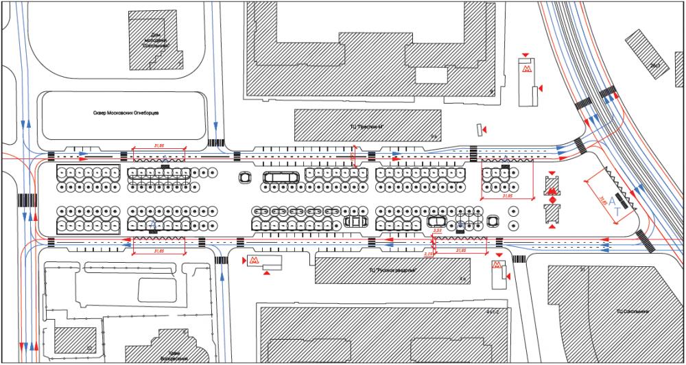 Первоначальная транспортная схема, с меньшим количеством парковок и остановками общественного транспорта на внутреннем контуре площади. Сокольническая площадь<br>© Megabudka