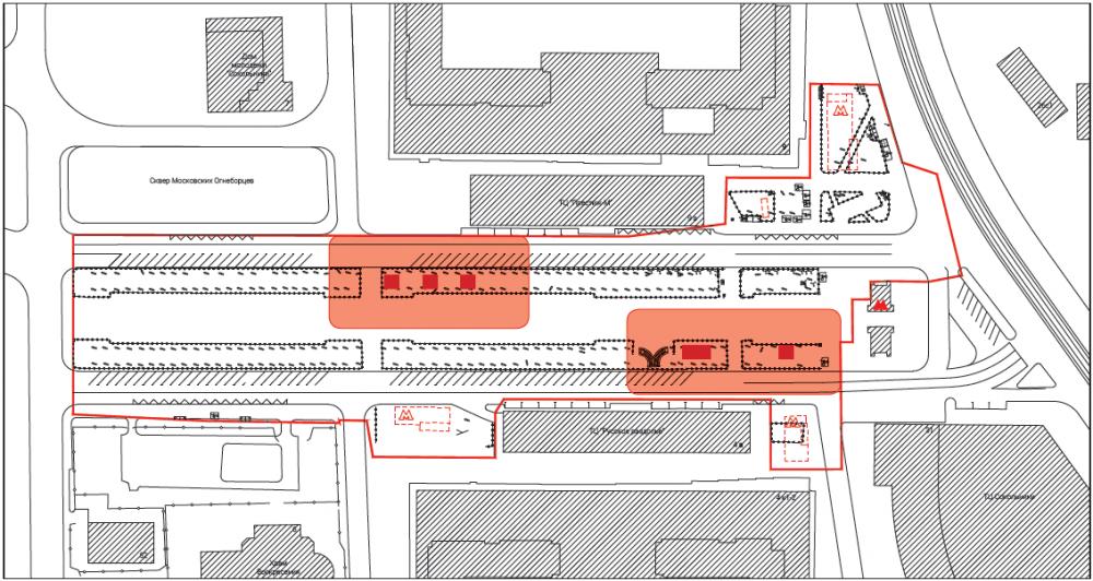 Места расположения венткиосков и туалетаи необходимые отступы. Сокольническая площадь<br>© Megabudka