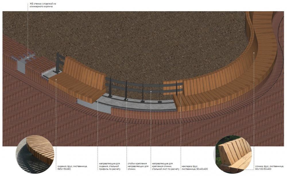 Скамейки при клумбах внешнего контура. Сокольническая площадь<br>© Megabudka