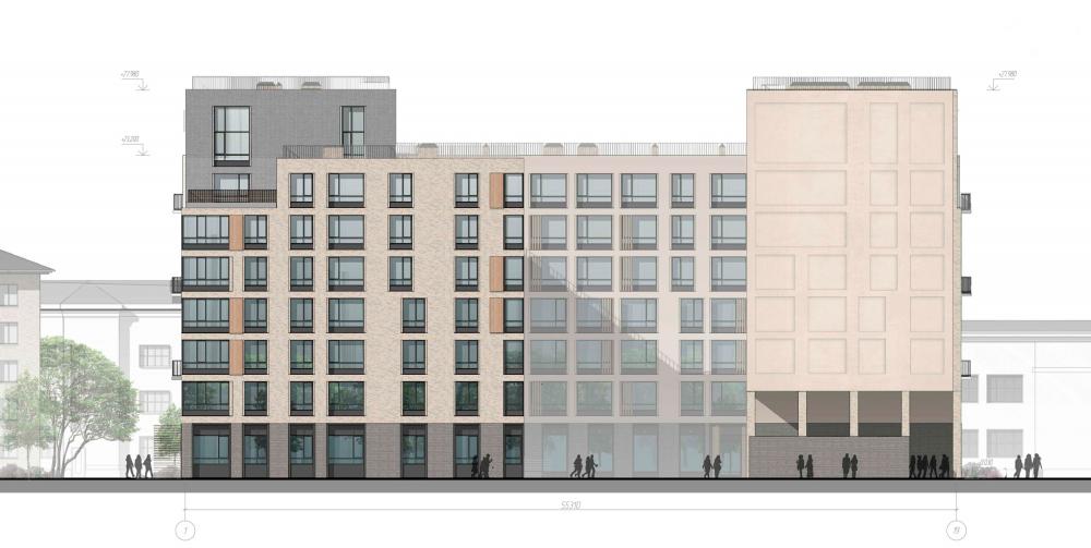 The yard facade. Housing project on the Dvinskaya Street<br>Copyright: © Architectural Bureau A-Len