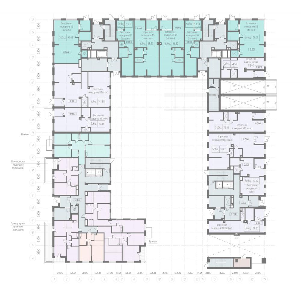 Plan of the 1st floor. Housing project on the Dvinskaya Street<br>Copyright: © Architectural Bureau A-Len