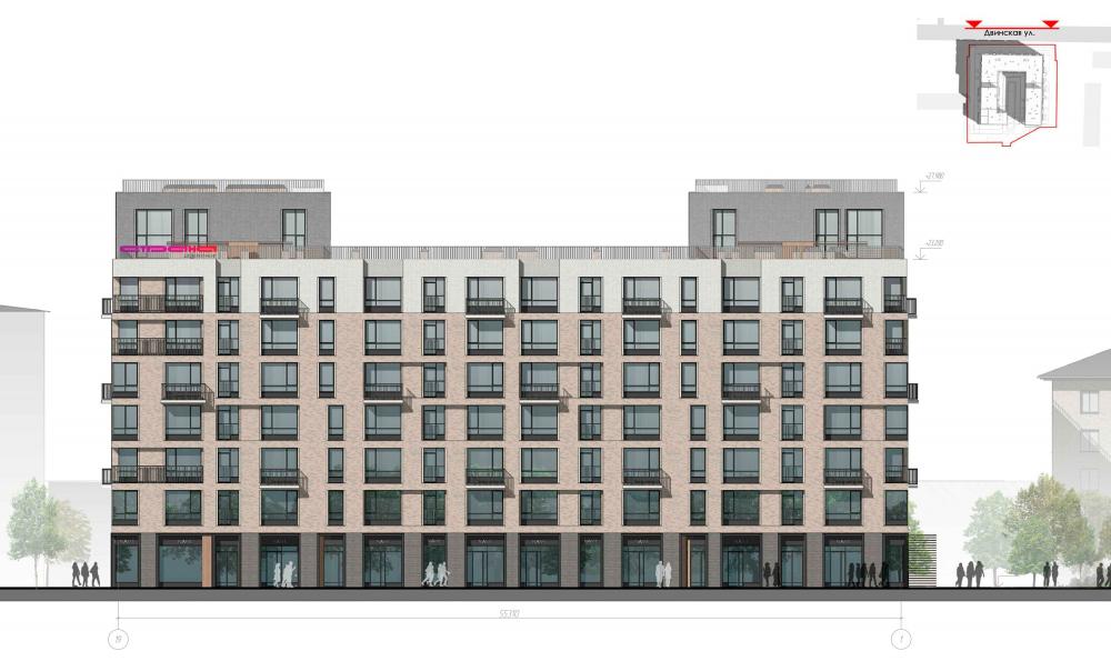 Facade 1. Housing project on the Dvinskaya Street<br>Copyright: © Architectural Bureau A-Len