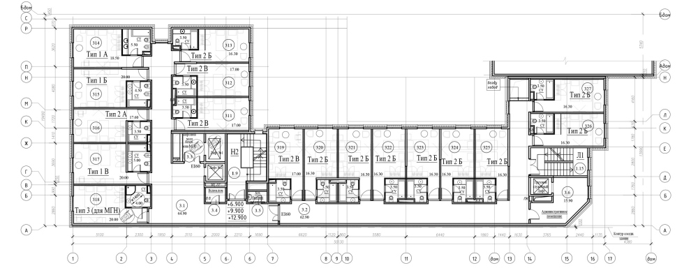 """The standard floor of the hotel. """"Amo"""" residential complex<br>Copyright: © Liphart Architects"""