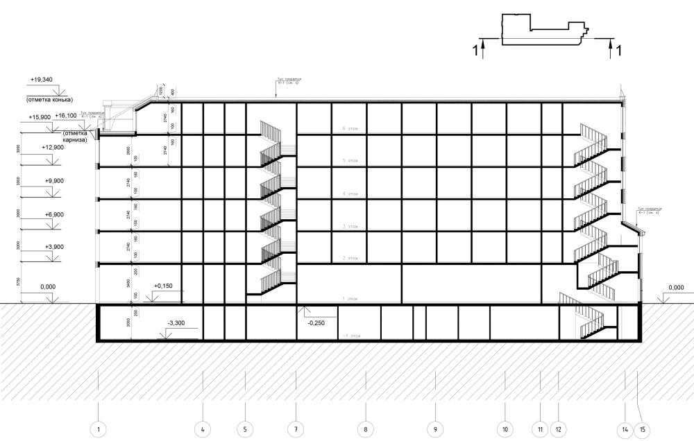 """The section view of the hotel. """"Amo"""" residential complex<br>Copyright: © Liphart Architects"""